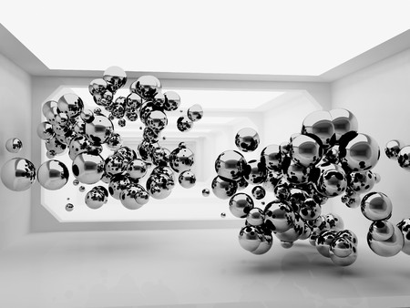 An abstract 3d metallic spheres in futuristic room Stock Photo