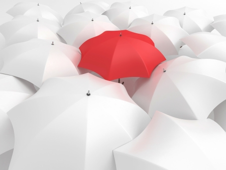 multiple image: One red umbrella among set of other white
