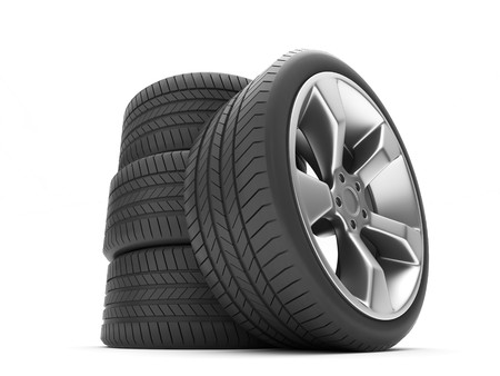 Aluminum wheels with tires isolated on white background photo