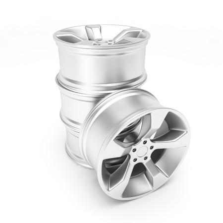 Aluminum wheels isolated on white background Stock Photo - 8000665