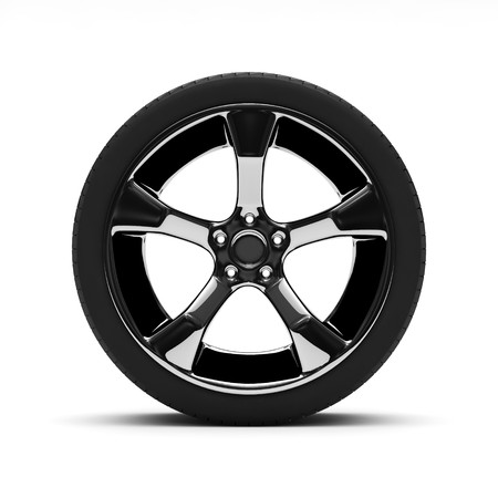 Chromed wheel with tires isolated on white background photo