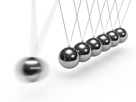 balance ball: Balancing balls Newtons cradle isolated on white background