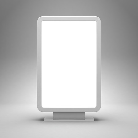 Blank advertising billboard on gray background photo