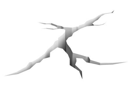 fissure: Crack de terre isol�e sur un fond blanc