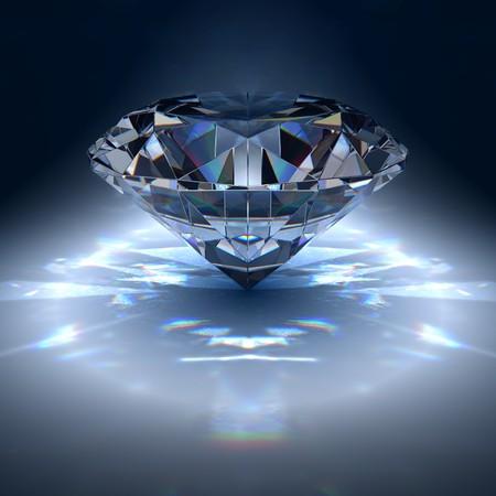 ダイヤモンド: 青色の背景にダイヤモンド宝石 写真素材