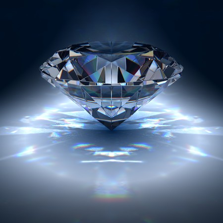 Diamond jewel on blue background photo
