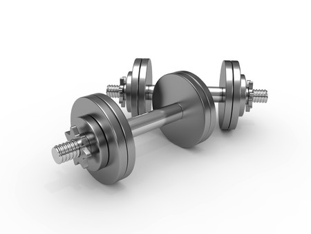 Dumbbell weights isolated on white background Stock Photo - 8000591