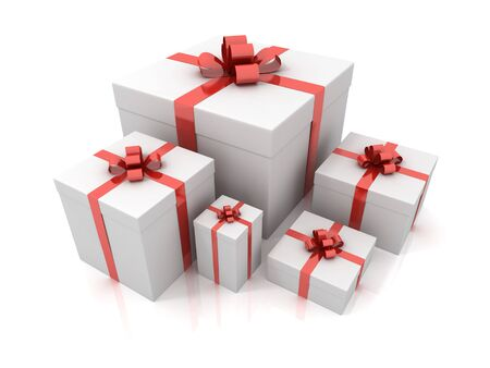Different gift box isolated on white background photo