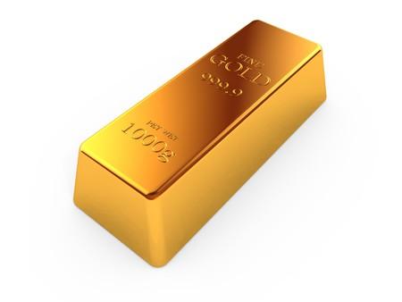 Gold bar isolated on white background photo