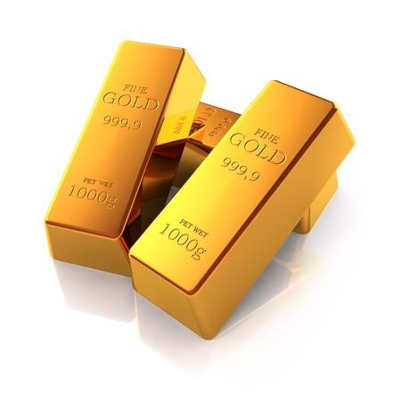 Goldbarren, die isoliert auf weißem Hintergrund
