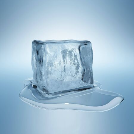 melting: Cubo con la gota de agua de hielo