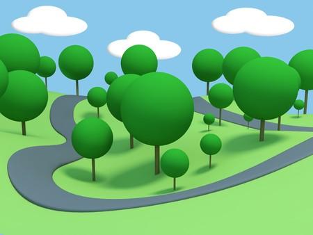 paysage dessin anim�: Paysage de dessin anim�. Rendu 3D.