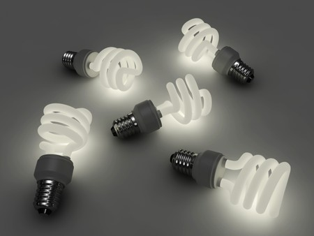 electricity 3d: Glowing fluorescent light bulb Stock Photo