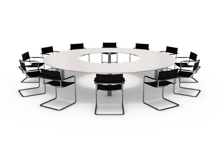 boardroom meeting: Conference table and chairs isolated on white background