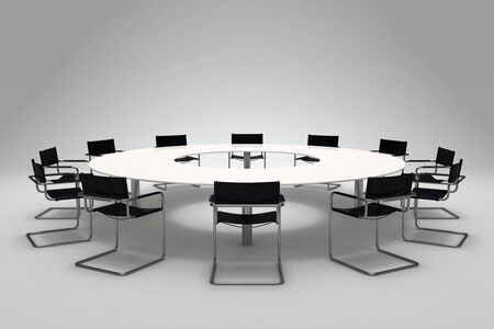 board room: Conference table and chairs on gray background Stock Photo