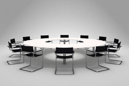 board of director: Conferenza di tavolo e sedie su sfondo grigio