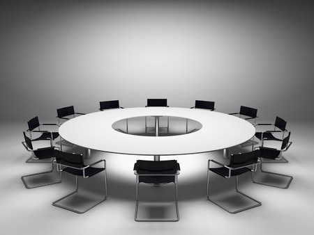 Conference table and chairs in meeting room photo