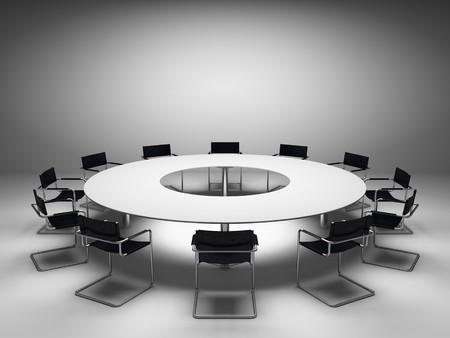 Conferentie tafel en stoelen in de vergader zaal Stockfoto