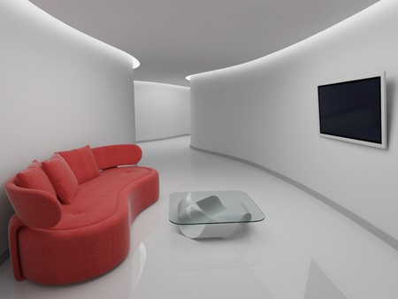 Sofa in rest room with TV
