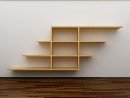 Empty bookshelf on the wall