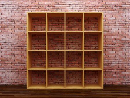 Empty bookshelf on the brick wall photo