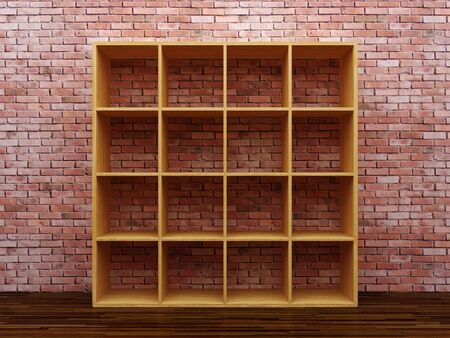 Empty bookshelf on the brick wall Stock Photo