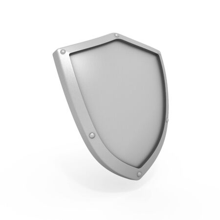 Metal shield isolated on white background photo