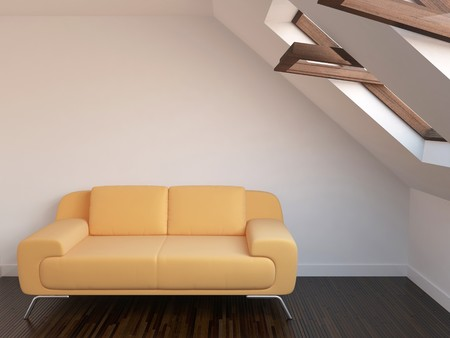 New relaxation room with sofa and windows Stock Photo - 8000708