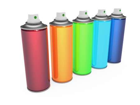 Colorful spray cans isolated on white background photo