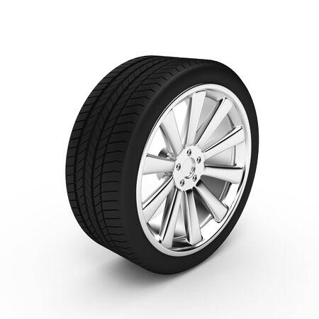 Aluminum wheel with tires isolated on white background photo