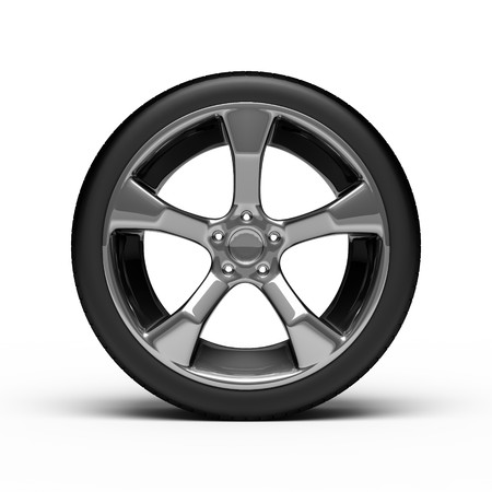 Chromed wheel with tires isolated on white background Stock Photo - 8000690
