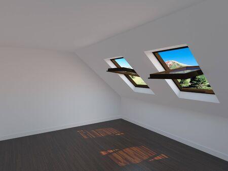 Empty new room with windows Stock Photo - 8000698