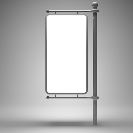 advertise: Blank street advertising billboard on gray background