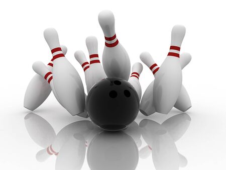 knocking: Bowling ball strike shot into the pins