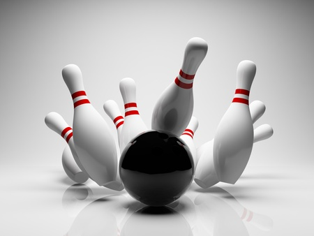 bowling sport: Bowling ball strike shot into the pins