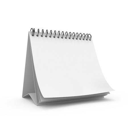 calendario: Calendario de escritorio en blanco aislado sobre fondo blanco