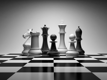 chessmen: Composition with chessmen on glossy chessboard