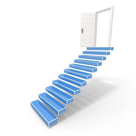 Stairs in up to an open door the leader to success photo