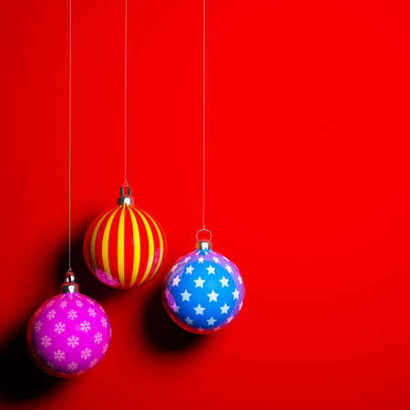 Card blank with christmas balls on red background photo