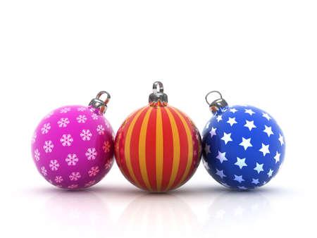 Christmas balls isolated on white background photo