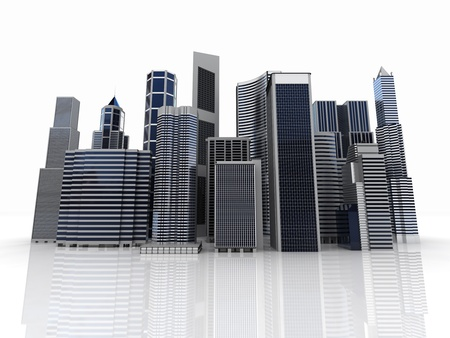 Modern office and skyscrapers with reflection on skyline