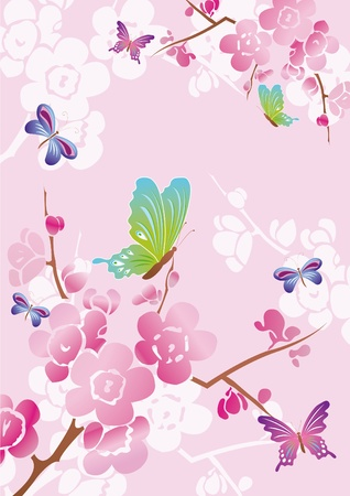 mauve: Vector floral background with colored butterflies