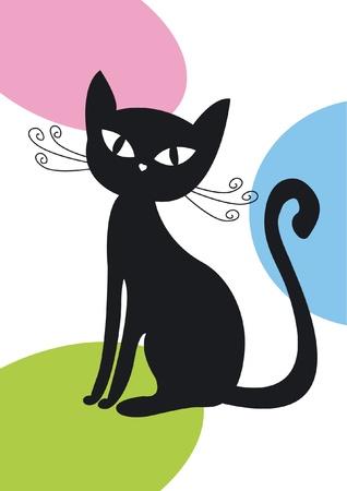 silueta de gato: Silueta de gato negro sobre fondo de color