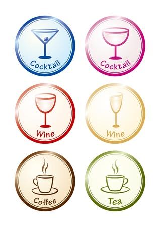 champagne orange: Drinks set. Vector icons