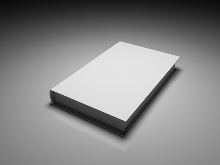 blank book cover: Blank white cover book over a grey background
