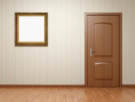 puerta: Habitaci�n vac�a con puerta de madera y el marco sobre papel tapiz con bandas
