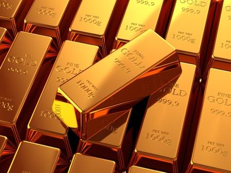 lingotes de oro: Barras de oro en lingotes, apiladas en cada uno de los otros