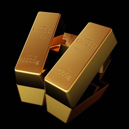 lingotes de oro: Barras de oro en superficie negra