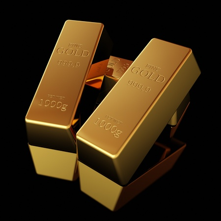 Gold bars on black  surface photo