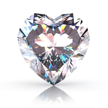 corazon cristal: Coraz�n de diamante aislado en fondo blanco